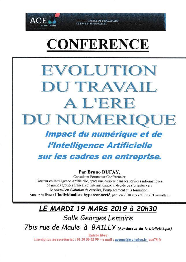 Conférence ACE : Evolution du travail à l'ère numérique