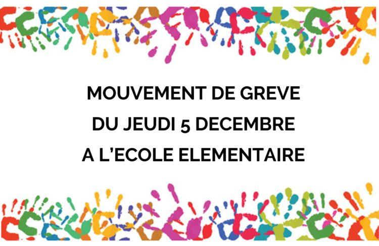 Grève du jeudi 5 décembre à l'école élémentaire